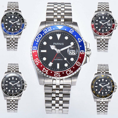 40mm PARNIS Black Sapphire Crystal Date GMT Mechanical  Automatic Mens watch