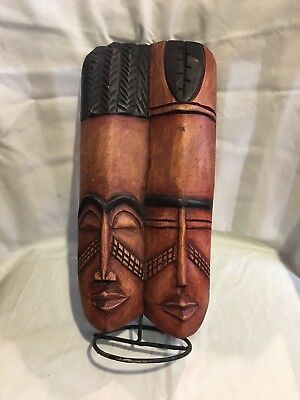"""Hand Carved Wood African Tribal Or Polynesian Standing Double Heads 13"""" Tall"""