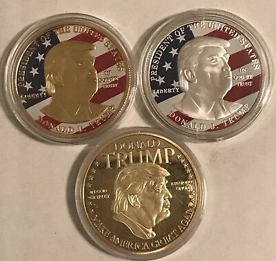 President Donald Trump Souvenir Gold / Silver Plated Collectors Coin's 3pack