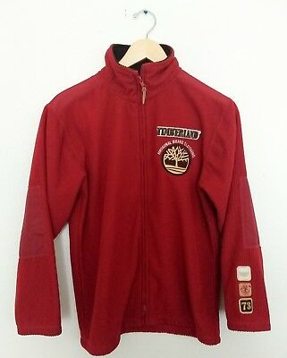Timberland Boys Medium 12 14 Red Corduroy Jacket Patches Elbow Pad Coat Youth