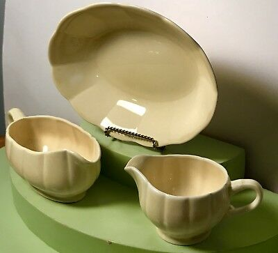 Lot 3~W.S. George Pastel Yellow PETALWARE~GEORGETTE~Gravy & Serving Bowl~Creamer