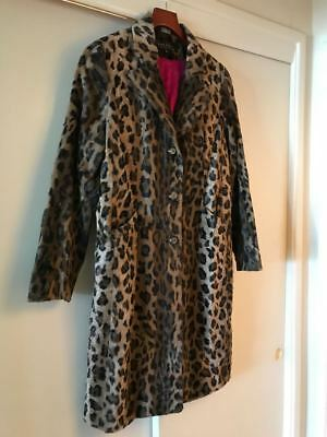 4c3017f95630 Nicole Miller Collection Faux Fur Leopard Print Coat Jacket 10 preown never  worn