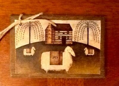 5 Wooden PRIM COUNTRY Ornaments/HangTags SUNFLOWER,CROW,SHEEP,SAMPLER SET0