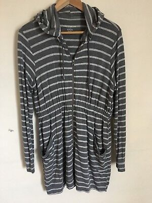 A PEA IN THE POD Maternity Womens Sweater Stripes Grey/white Zip Up Medium