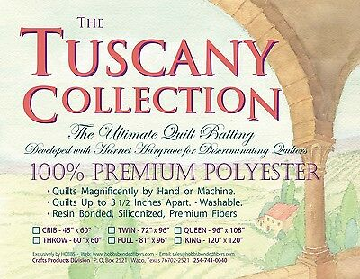 TUSCANY COLLECTION PREMIUM POLYESTER QUILT BATTING, King Size From Hobbs NEW