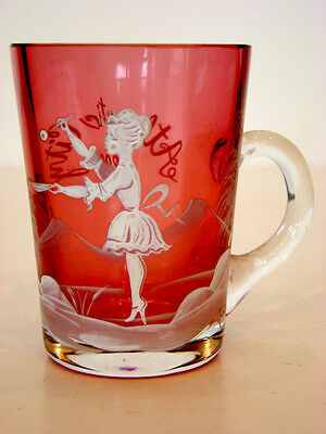 1899 Antique ATLANTIC CITY Vintage MARY GREGORY Souvenir CRANBERRY GLASS Mug