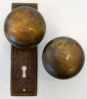 2 ANTIQUE Vintage 1800's VICTORIAN Cast Brass / Bronze DOOR KNOB & ESCUTCHEONS