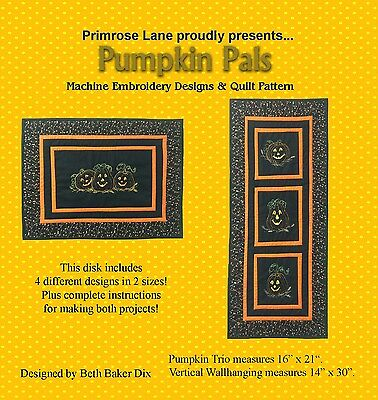 PUMPKIN PALS MINI QUILTS MACHINE EMBROIDERY CD, from Primrose Lane, *NEW*