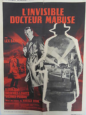Old 1962 French Movie Poster l'Invisible Docteur Mabuse Lex Barker
