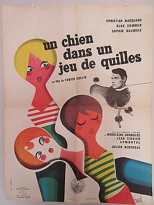 Old 1962 French Movie Poster Un Chien dans un jeu de Quilles , Fabien Collin
