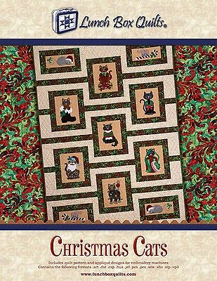 CHRISTMAS CATS QUILT MACHINE EMBROIDERY CD, from Lunch Box Quilts, *NEW*