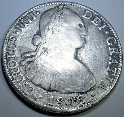 1806 Spanish Silver 8 Reales Coin Piece Of Eight Real Pirate Shipwreck Treasure