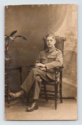 WW1 Antique BRITISH Real Photo RPPC Postcard HANDSOME YOUNG SOLDIER in UNIFORM