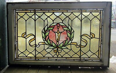 Victorian Antique Stained Glass Window - 19 By 34