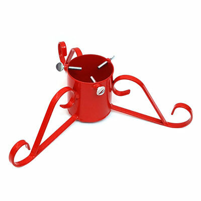 Christmas Tree Stand Red Traditional Wrought Iron Metal, 7ft (2.1m) Real Trees