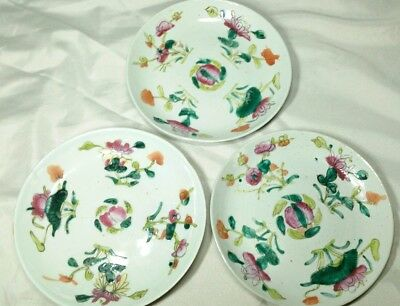 Chinese Antique 19c Porcelain Plate Hand Painted W/Mark Floral