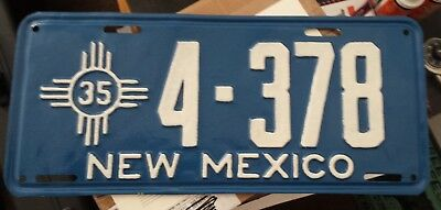 1935 New Mexico License Plate, Excellent Condition