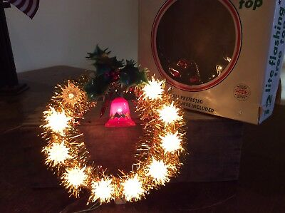 Vintage Wynne NOEL Christmas Tinsel Lighted Wreath Red Bell With Original Box