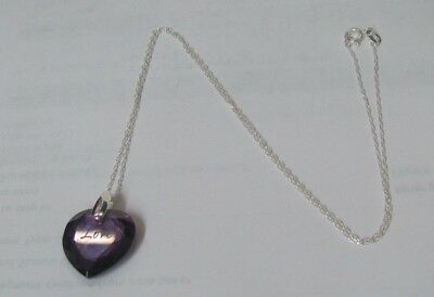 11107 OLD PAWN Sterling Silver Love Purple Crystal Heart Charm necklace