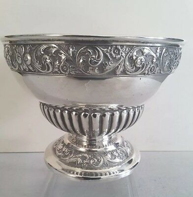 Large, Quality Attractive Ant.. Solid Silver Rose Bowl.    642Gms.    Lon. 1896.