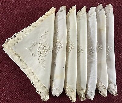 Vintage Napkins Set of 7 Lace and Embroidery Circa 1950's