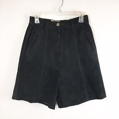 Vintage Forenza High Rise Suede Leather Shorts Women's Size 8 Black