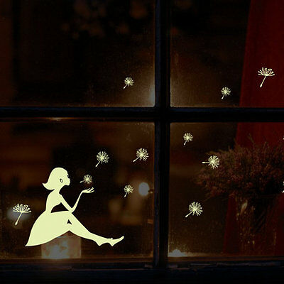 Glow In Dark Wall Sticker Dandelion Luminous Fluorescent Stickers Wall Decals MX