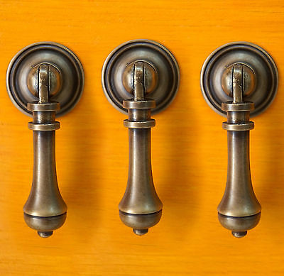 SET OF 3 PCS Vtg Antique Brass TEAR DROP Cudgel KNOB Drawer Handle Pulls