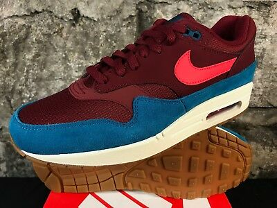 on sale ef0c9 bf5bd Nike Air Max 1 AH8145-601 Team Red Orbit Green Abyss White Men s Shoes NEW