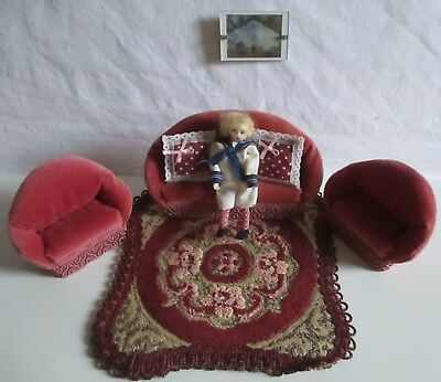 dolls house miniature living room items couch, chairs rug picture & vintage doll