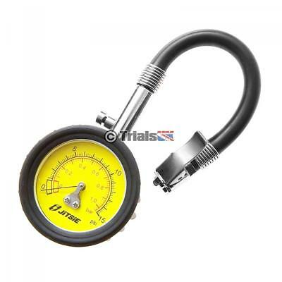 Jitsie High Accuracy Low Pressure 0-15 PSI Tyre Gauge - Shrader Valve