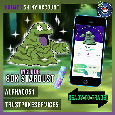 Pokemon Go Shiny Accounts ! Grimer ! 80k Stardust! Level 20 Account No team