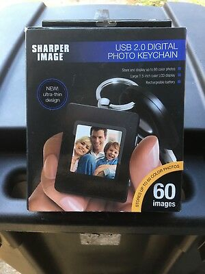 Sharper Image USB 2.0 Rechargeable Digital Photo Album With Keychain NIB-Black