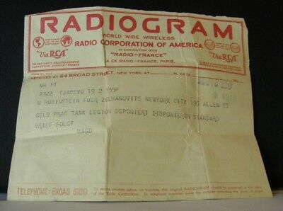 Original 1925 RCA RADIOGRAM in Connection with Radio France//New York (Telegram)