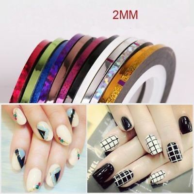 Mixed Colors Radium Nail Line Stickers Roll Striping Tape Line Decoration 8Pcs