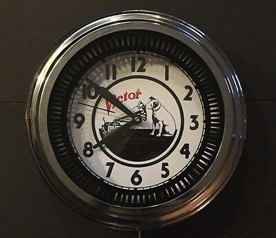 VICTOR PHONOGRAPH ADVERTISING SPINNER NEON WALL CLOCK Nipper Dog Electric LENOX