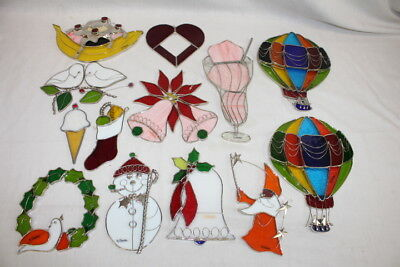 Mint 12 Vintage Stained Glass Sun Catchers Christmas Ornaments by Valentien