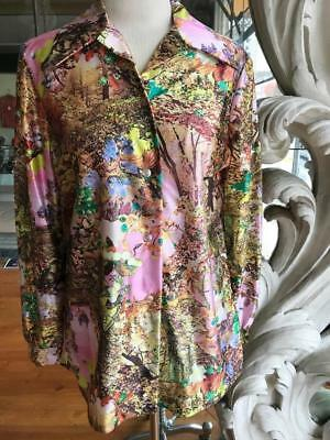 Vintage 1970s Polyester Long Sleeve Wide Collar Blouse Nature Floral Print