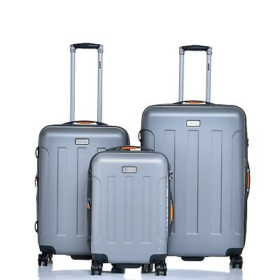 JEEP Miami Hard Luggage 3 piece set expanding Lightweight - Silver