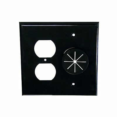 Midlite DR2G-GR10-BK Duplex Receptacle and Wireport Plate with Grommet