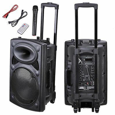 Yescom Portable Active PA Speaker Mic Guitar AMP Bluetooth USB SD LCD FM Rem ...