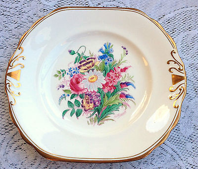 Handpainted Signed Royal Chelsea Floral Bouquet /gold two handled dish (363)