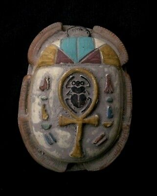 Rare EGYPTIAN ANTIQUES EGYPT SCARAB Beetle Engraved ANKH STELA RELIEF Stone BC