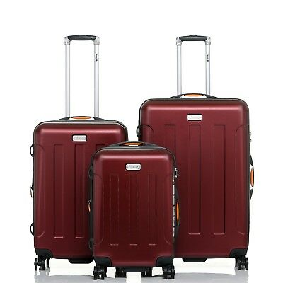 JEEP Miami Hard Luggage 3 piece set TSA expanding Lightweight WINE