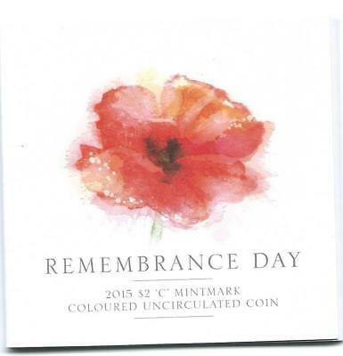 2015 $2 Remembrance Day 'C' Mintmark Coloured Carded Coin