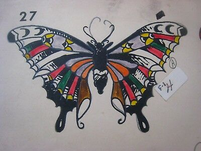 Vintage Tattoo Flash...Butterflies  # 27...11'' x 14 '' Hand colored