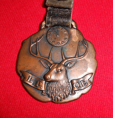 Large Antique Elks Lodge Pocket Watch Fob with Leather Strap-B.P.O.E