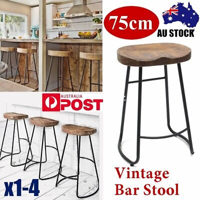 1-4X Vintage Tractor Bar Stool 75CM Retro Barstool Industrial Dining Wood Chair