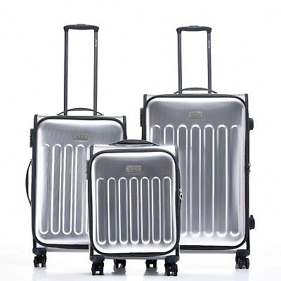 JEEP PREMIUM PLATEAU Hard Luggage 3 piece set TSA expanding Lightweight Silver