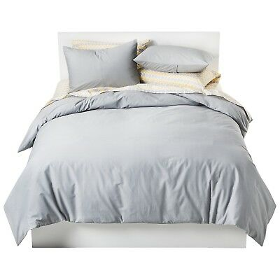 Room Essentials Solid Cotton Blend Duvet Cover Set 3pc Gray (Full/Queen)